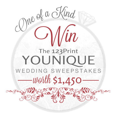Engaged couples can enter to win the 123Print Younique Wedding Sweepstakes worth up to $1,450 in prizes.