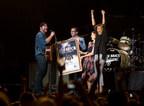 Lee Brice Awarded Surprise Platinum Presentation For I Don't Dance. Ph otos by Avi Gerver/MSG Photos (PRNewsFoto/Curb Records)