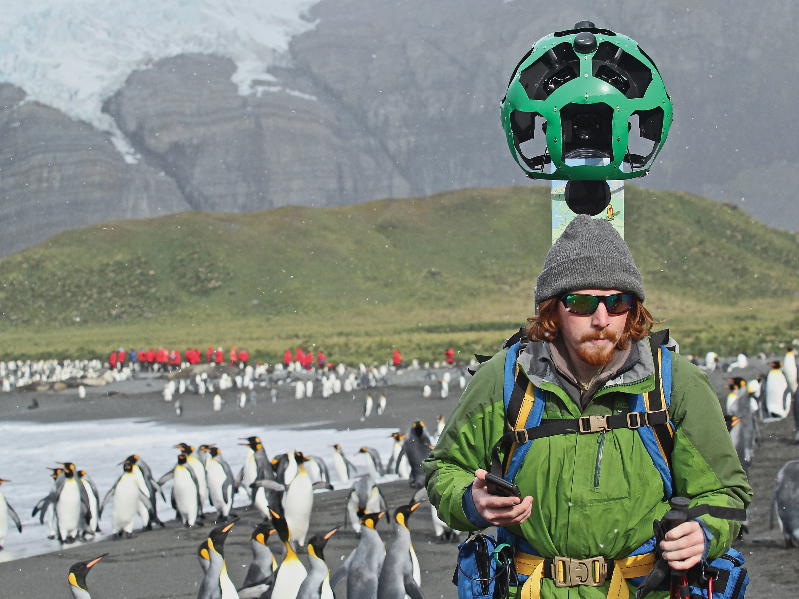 Penguins, walrus, and ice - oh my!  Lindblad Expeditions-National Geographic & Google Street View launched Imagery of South Georgia & the Falkland Islands collected on a Lindblad Expedition on board National Geographic Explorer. Pictured here, Lindblad Expeditions' videographer treks Right Whale Bay, South Georgia Island.