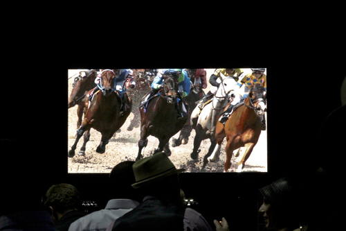 """The """"Big Board"""" at Churchill Downs, pictured here at the Spring Meet on April 26th, is the world's ..."""