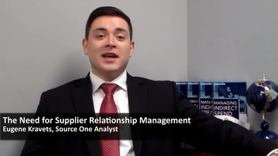 "A screen capture from the Source One informational video ""Supplier Relationship Management"", featuring Source One Strategic Sourcing and Supply Chain analyst Eugene Kravets discussing the competitive advantages, value propositions, and cost savings available from deepened relations between procurement, strategic sourcing, and supply chain departments and their vendors and suppliers.  (PRNewsFoto/Source One Management Services, LLC)"