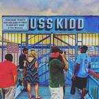 Veterans prepare to board the USS Kidd in Baton Rouge, LA
