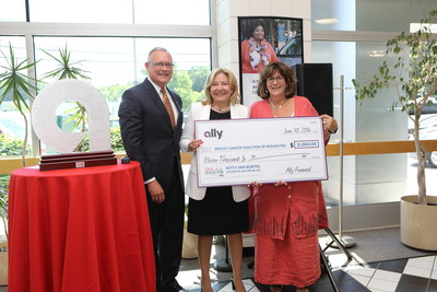 Ally Regional Vice President Tom Kolski presents grant check to Kitty Van Bortel of Van Bortel Motor Cars and Holly Anderson, Executive Director of the Breast Cancer Coalition of Rochester (BCCR) in recognition of Kitty's TIME Dealer of the Year award.