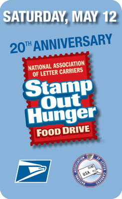 Support the Stamp Out Hunger Food Drive, Saturday, May 12, visit www.helpstampouthunger.com to learn how.  (PRNewsFoto/U.S. Postal Service)