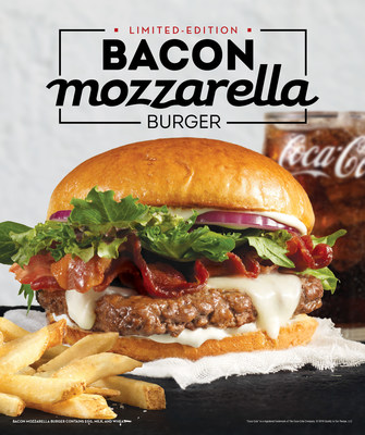 Wendy's Bacon Mozzarella Burger is a delicious spin on a classic. In addition to Wendy's signature fresh, never frozen North American beef and thick-cut Applewood Smoked Bacon, the burger takes things up a notch with a sweet and creamy natural mozzarella topped with sliced red onions, spring mix and a garlic parmesan cheese spread - all sandwiched between a toasted garlic brioche bun.