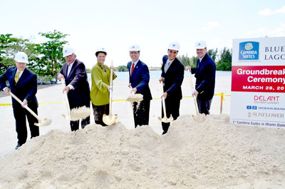 Cambria Suites Breaks Ground in Miami, Sunflower Hospitality LLC, Delant Construction Co, and Choice Hotels International Work Together to Build Second Cambria Suites Hotel in Florida. From left: Alfredo Himiob, general manager, Sunflower Hospitality; Juan Delgado, Delant Construction; Rebeca Sosa, Miami-Dade County Commissioner District 6; Michael Murphy, senior vice president, Cambria Suites, Choice Hotels; Cesar Nieto, Delant Construction; George Lage, Delant Construction.  (PRNewsFoto/Choice Hotels International, Inc.)