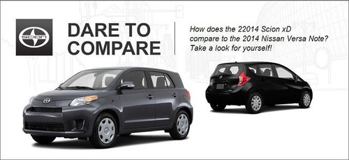The 2014 Scion xD delivers more performance and comfort than the 2014 Nissan Versa Note. (PRNewsFoto/Scion of ...