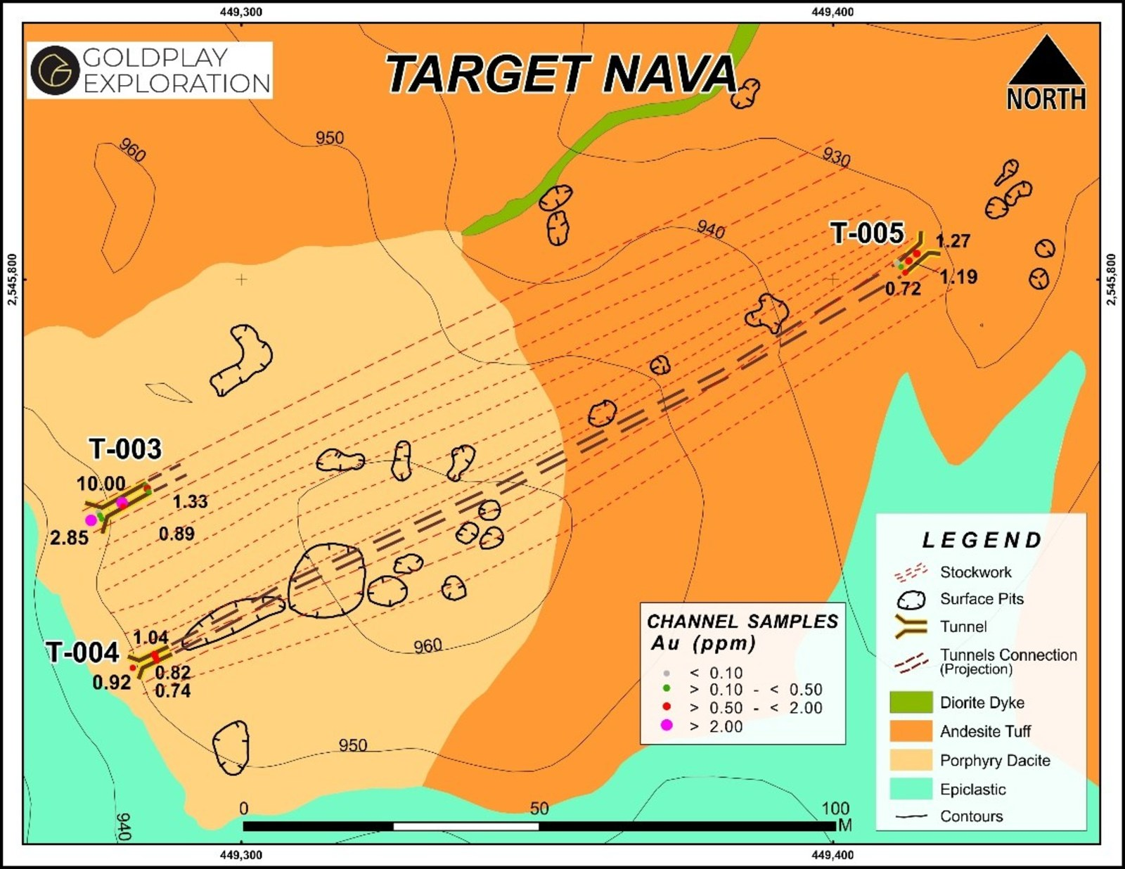 Figure 4 Nava Zone – Geology and Tunnel Sampling Results