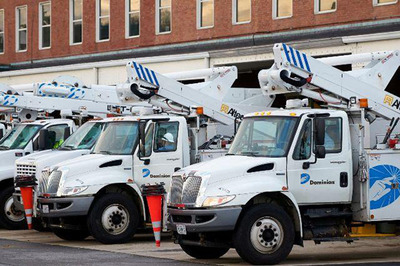Dominion trucks from Alexandria, Va.,  and other support vehicles will be leaving this morning (Friday, 11/2/12) as part of Dominion's relief and restoration efforts to assist electric  utilities in the Northeast.  (PRNewsFoto/Dominion Virginia Power)