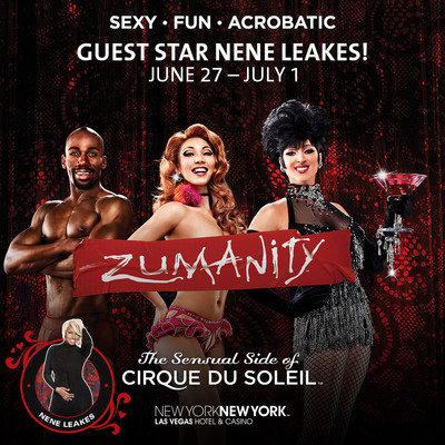 ZUMANITY, The Sensual Side of Cirque du Soleil at New York-New York Hotel & Casino welcomes television personality and actress NeNe Leakes for an exclusive 10-show engagement in celebration of the show's 10th anniversary year, June 27 through July 1.