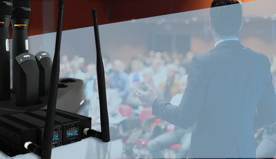ClearOne's DIALOG 20 two-channel wireless microphone system targets uses in which only a few wireless mics are required, e.g., classrooms, presentation and training venues, huddle and other spaces. All types of transmitters are available. Each of the microphone transmitters has additional options suitable for any application. The podium has six-, 12-, and 18-inch gooseneck options. The handheld offers cardioid, super-cardioid, and hyper-cardioid heads. The belt-pack has clip-on and headset versions, while the tabletop boundary transmitter offers omni and cardioid mics.