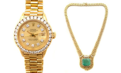 Ladies Rolex Oyster Perpetual Day-Date diamond, 18K yellow gold wristwatch, Ref. No. 6917, estimate $3,000-$5,000; and Emerald and diamond 14K yellow gold necklace, estimate $8,000-$12,000. Credit: Michaan's Auctions