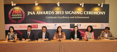 All six sponsor partners continue their support for the JNA Awards in 2013. (Pictured) Kent Wong, Managing Director of Chow Tai Fook Jewellery Group Ltd (third from left); Rita Maltez, Manager of Rio Tinto Diamonds, Greater China Representative Office (third from right); Nissim Palomo, Chief Marketing Officer of the Israel Diamond Institute (second from left); Caroline Yuan, Vice President of the Shanghai Diamond Exchange (second from right); Emily Yau of Robert Wan Tahiti (first from left); Ramesh Virani, Director of the KARP Group (first from right) and Letitia Chow, founder of JNA and Director of Business Development - Jewellery Group at UBM Asia Ltd (centre).  (PRNewsFoto/UBM Asia Ltd)