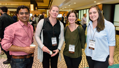 Kenneth Rainin Foundation Grantees Kate Fitzgerald, PhD, and Kate Jeffrey, PhD with Maninjay Atianand, PhD and Tahnee Saunders at the Foundation' 2016 Innovations Symposium. Photo credit: Stephanie Secrest.