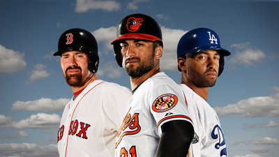 Rawlings Pro Advisors Kevin Youkilis, Nick Markakis and Matt Kemp wearing the new Rawlings S100 Pro Comp batting helmet, designed to provide technologically-enhanced protection for ball strikes up to 100 miles per hour.  (PRNewsFoto/Rawlings Sporting Goods Company, Inc.)