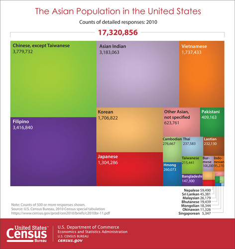 According to the U.S. Census Bureau, there were about 17 million Asians in the United States in 2010. Chinese, except Taiwanese was the largest detailed Asian group with about 3.8 million, followed by Filipinos at about 3.4 million, Asian Indian about 3.2 million and Vietnamese at about 1.7 million in 2010. More information on detailed Asian groups http://www.census.gov/newsroom/releases/archives/facts_for_features_special_editions/cb14-ff13.html (PRNewsFoto/U.S. Census Bureau)