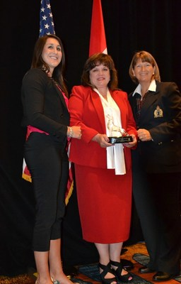 Far left- Lauren Mora, Manager of Public Safety Marketing, Motorola Solutions. Middle- Katherine A. Perez, Assistant Chief of the Federal Reserve Police and 2016 NAWLEE/Motorola Woman Law Enforcement Executive of the Year. Far right- Ruth Roy, President of NAWLEE and Inspector with the Royal Canadian Mounted Police.