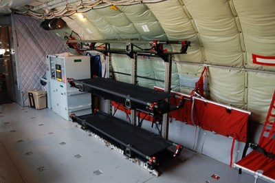 LifePort Stanchion Litter System installed in the KC-135R.