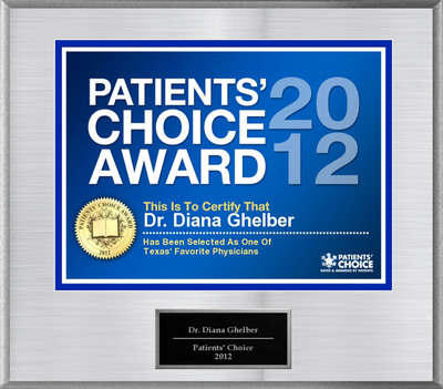 Dr. Ghelber of Fort Worth, TX has been named a Patients' Choice Award Winner for 2012.  (PRNewsFoto/American Registry)