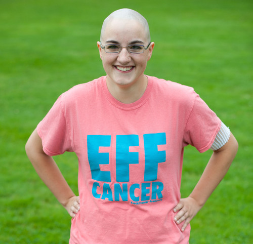 "The ""Eff Cancer"" shirt created by Rachel Morell of Ramalama Enterprises to help fund treatment for ..."