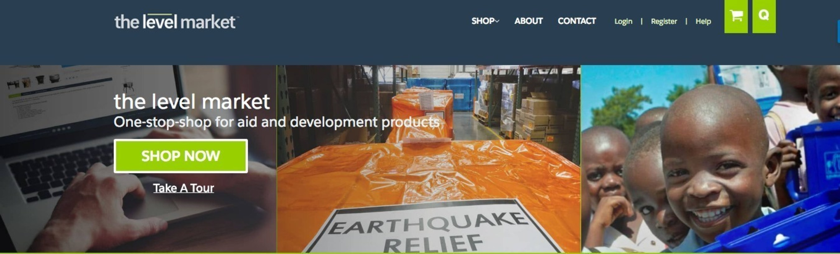 Homepage of The Level Market, where aid buyers can shop, compare, quote and purchase life-saving products.