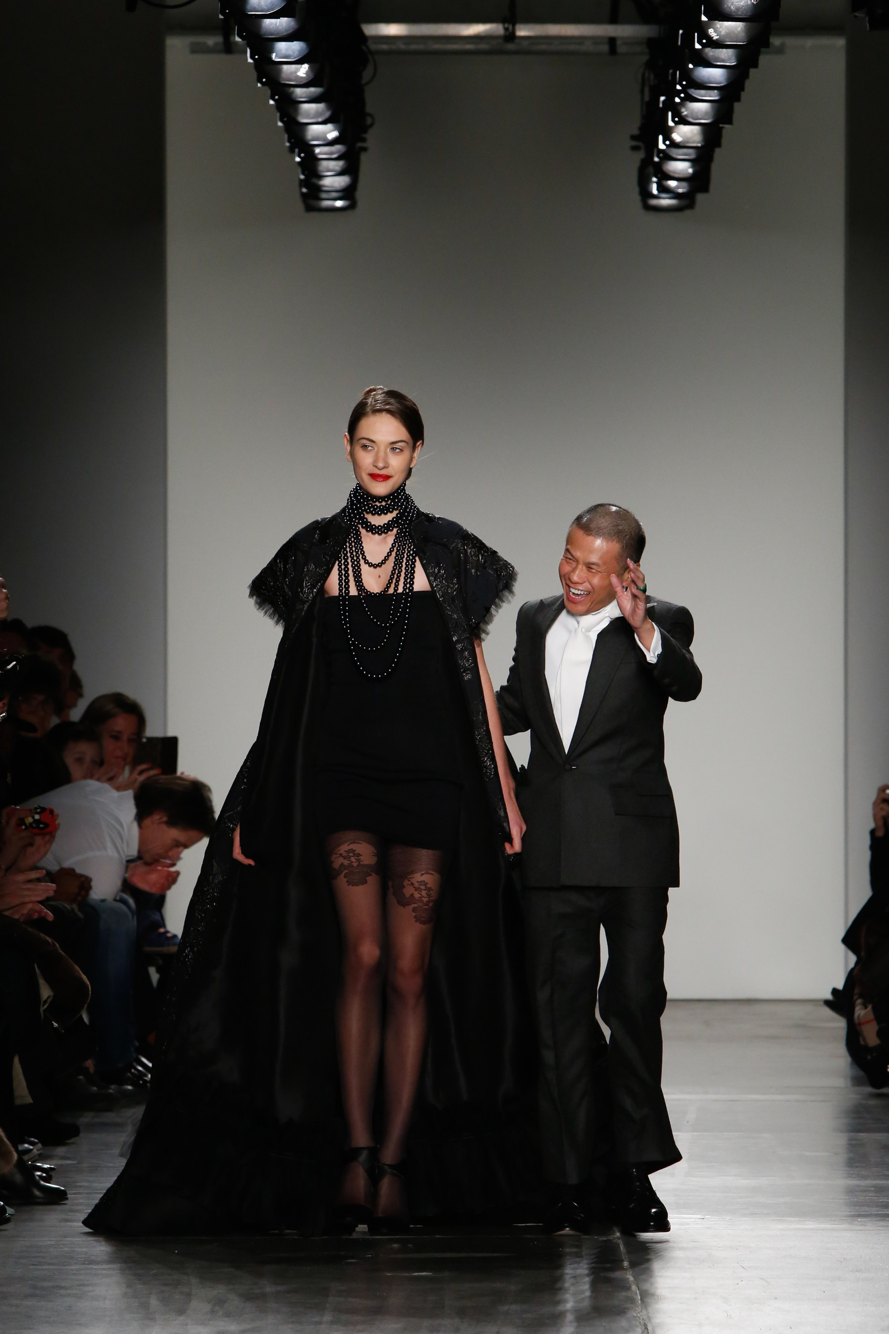 f68aa21650 Fashion designer, Zang Toi, with the final look of his Fall 2016 Collection.