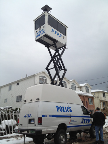 NYPD utilized new mobile tower vehicles in Staten Island during last week's Nor Easter that added further complications to the already devastated community.  (PRNewsFoto/TerraHawk, LLC)