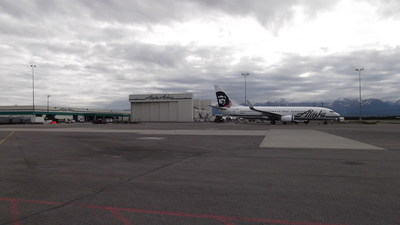 Alaska's current maintenance hangar in Anchorage, Alaska, will move about half a mile from the existing facility.