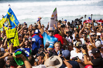 Adriano de Souza captures the 2015 WSL World Title at the Billabong Pipe Masters in Memory of Andy Irons. In addition to claiming the 2015 WSL Title, De Souza made history as the first Brazilian to win the Pipe Masters.