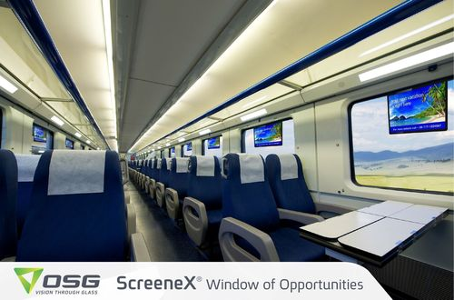 ScreeneX(R) (Patent Pending: PCT/IL2013/050245, Registered Utility Model: DE 20 2013 011 808.3), is a digital LCD screen embedded in a double-glazed window, or in an interior glass partition in a train or bus, providing an innovative digital signage solution. (PRNewsFoto/OSG)