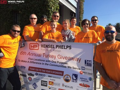 Hensel Phelps staff participate in sixth annual Thanksgiving Turkey Giveaway. (Photo credit: Hensel Phelps)
