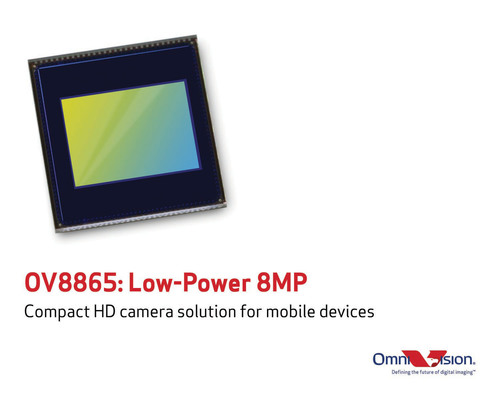 OmniVision Technologies, Inc. (NASDAQ: OVTI) today announced the OV8865, a new low-power, high-performance 8-megapixel CameraChip(TM) sensor. Featuring an improved 1.4-micron OmniBSI-2 pixel, the OV8865 delivers best-in-class pixel performance in a smaller package and uses less power when compared to the previous-generation OV8835, making the OV8865 an ideal camera solution for new mobile devices, including advanced smartphones and tablets.  (PRNewsFoto/OmniVision Technologies, Inc.)