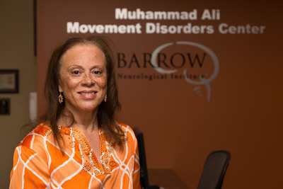 Muhammad Ali's wife, Lonnie, poses for a quick photo during a recent visit to the expanded Muhammad Ali Parkinson Center at Barrow Neurological Institute at St. Joseph's Hospital and Medical Center in Phoenix.  (PRNewsFoto/Barrow Neurological Institute)