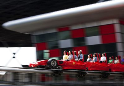 Formula Rossa, the world's fastest roller coaster, blasts riders at 1.7Gs to 240 kmph in under 5 seconds.