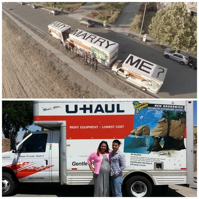 Unique Marriage Proposal Makes One Couple #uhaulfamous (PRNewsFoto/U-Haul)