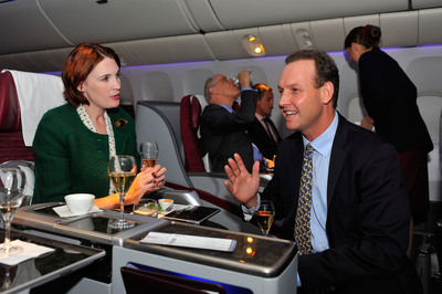 Qatar Airways' sommelier and Master of Wine, James Cluer, showcases the airline's unique champagne and wine selections and discusses how taste palates change at high altitude.  (PRNewsFoto/Qatar Airways)