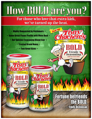 "Tony Chachere's to Launch ""Bold"" Seasoning.  (PRNewsFoto/Tony Chachere's Creole Foods)"