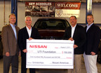 Nissan presents a $150,000 check to the Universal Technical Institute Foundation.(L-R) Warren DeBardelaben, Director, Service Support and Quality, Nissan Americas; John Spoon, Vice President, Parts and Service, Nissan Americas; Barry Fodor, UTI Foundation Board Member; Ed Hibma, Senior Manager, Vehicle Tech Support, Nissan Americas.  (PRNewsFoto/Universal Technical Institute Foundation)