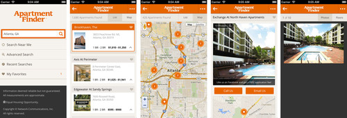 New Apartment Finder iOS app accesses one of the largest collections of U.S. apartment rentals online.  ...