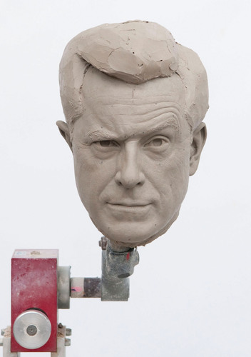 Sculpted clay-head mold of Comedy Central host, Stephen Colbert, in photo unveiled by Madame Tussauds ...