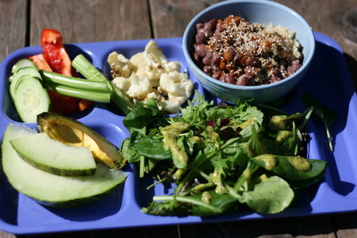 A plant-based lunch at the Village School in Eugene, Ore.