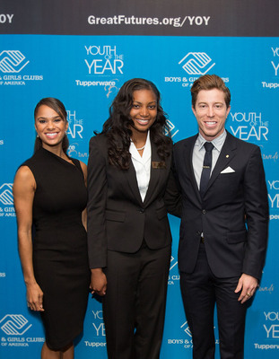 American ballet soloist Misty Copeland and Olympic snowboarder-skateboarder Shaun White join Boys & Girls Clubs of America in naming the 2013-14 National Youth of the Year Kiana Knolland (center) in Washington, D.C. Knolland receives top honor and over $60,000 in college scholarships from national Youth of the Year sponsor, Tupperware Brands. (PRNewsFoto/Boys & Girls Clubs of America) (PRNewsFoto/BOYS & GIRLS CLUBS OF AMERICA)