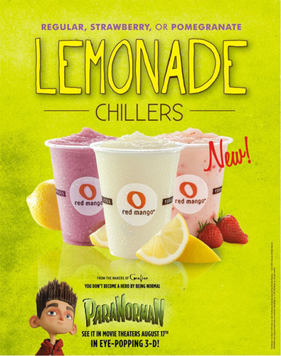 Regular, Strawberry, or Pomegranate Lemonade Chillers.  (PRNewsFoto/Red Mango)