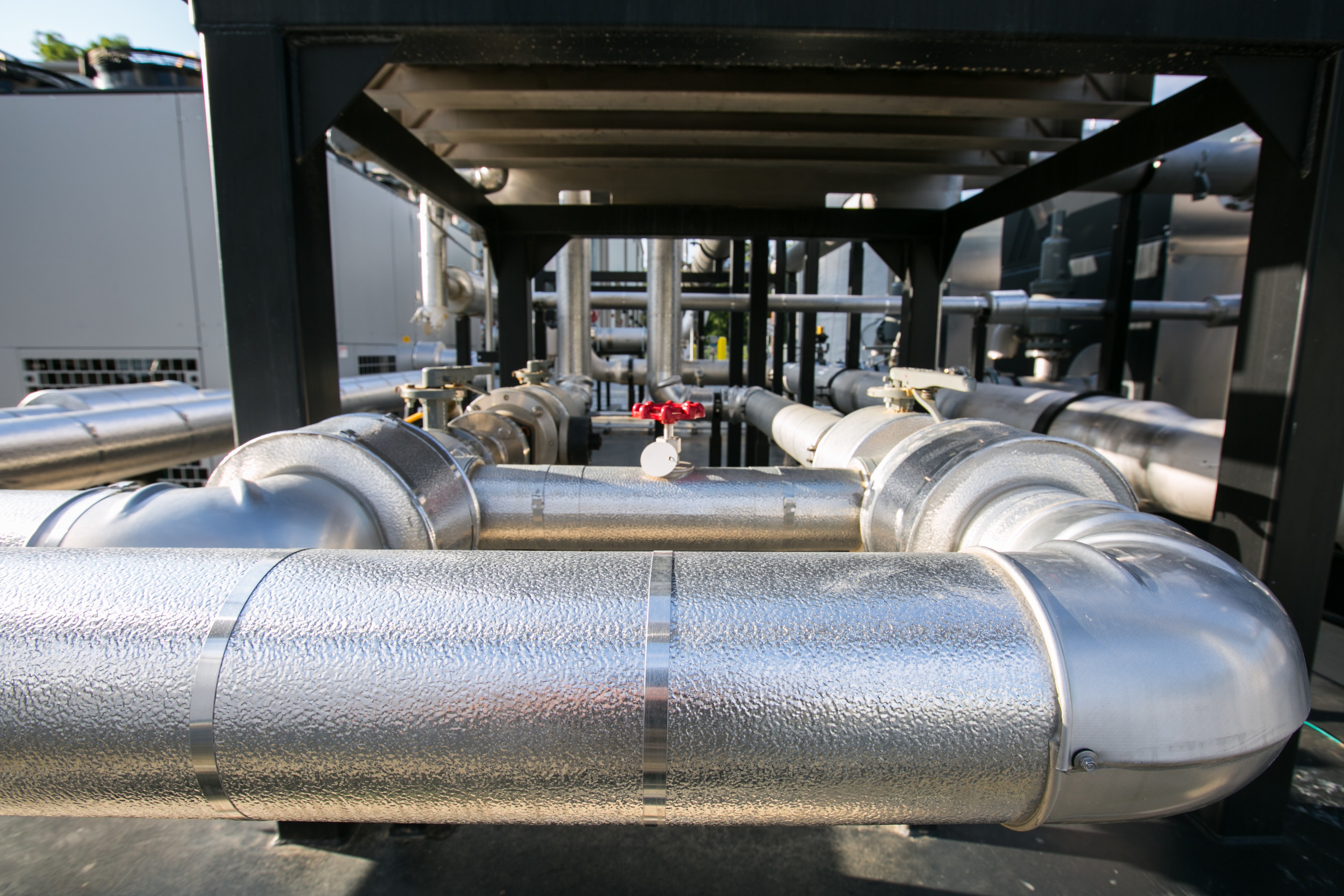 Gas conditioning system that hydrates and cleans the gas prior to combustion in the engine generators.