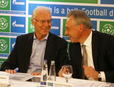 Vyacheslav Krupenkov, Senior Managing Director of GAZPROM Germania GmbH and Franz Beckenbauer, Global ambassador of the FOOTBALL FOR FRIENDSHIP program during the hangout press conference on the FOOTBALL FOR FRIENDSHIP project start (PRNewsFoto/FOOTBALL FOR FRIENDS project)