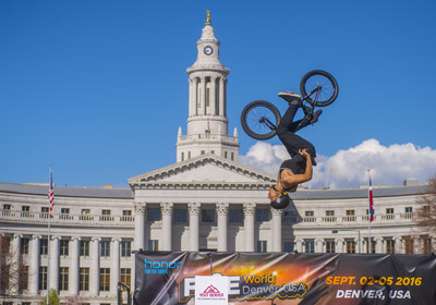 Professional BMX competitors perform aerial stunts high above Denver's Civic Center Park as part of the official ceremony announcing The Mile High City as the only U.S. destination selected to host the 2016 Festival International des Sports Extremes (FISE) World Series. The international competition attracts many of the world's elite extreme sports athletes and will be broadcast in more than 50 countries.