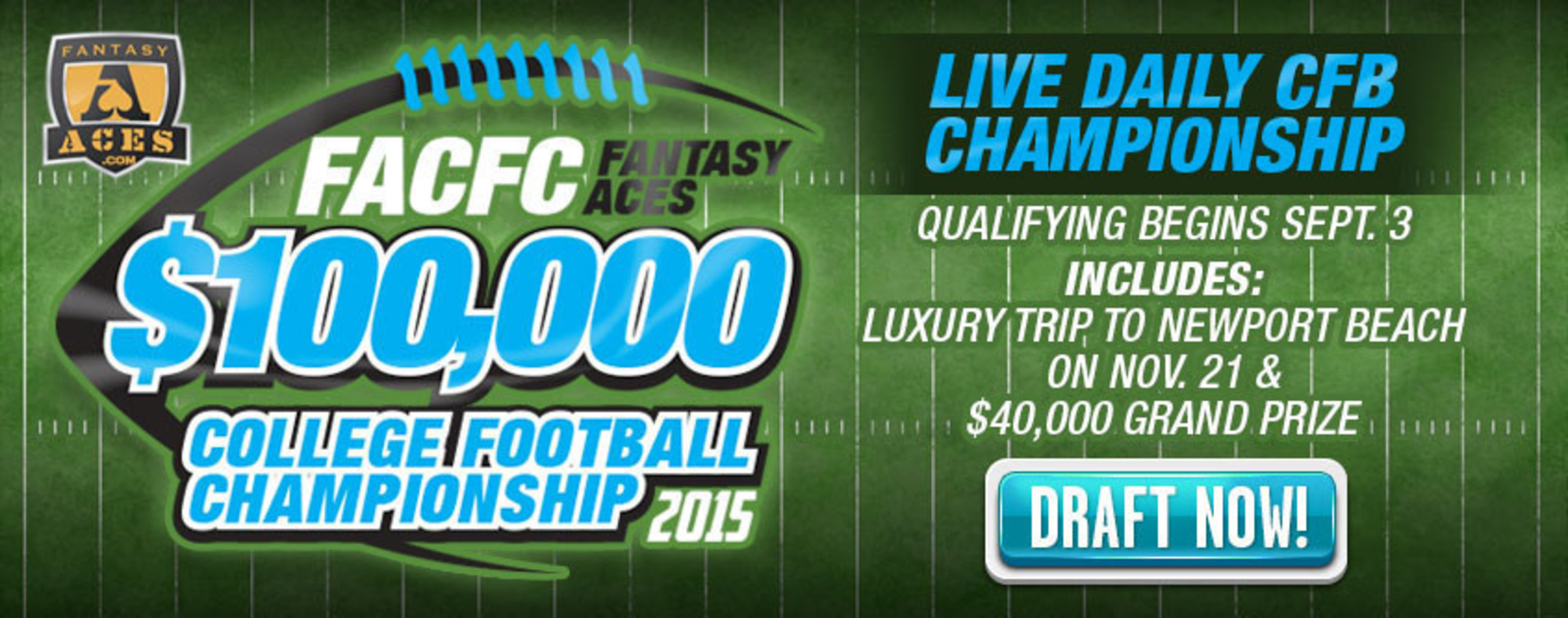 FantasyAces to Host $100,000 Live Final College Football Championship