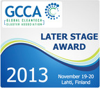 The 160 nominations for the GCCA Later Stage Awards will be judged in 10 categories by 30 cleantech venture capitalists and professionals collectively managing over $3.5 billion in cleantech investment.  (PRNewsFoto/Global Cleantech Cluster Association (GCCA))