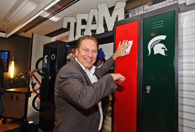 Michigan State Men's basketball coach, Tom Izzo, shows his Spartan favoritism at the Gladiator(R) Brand PrimeTime(TM) Locker launch event.