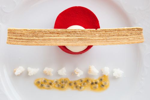 """A White Chocolate Passionfruit Delice is one of 100 new dishes on Crystal Cruises' new """"Modern"""" ..."""